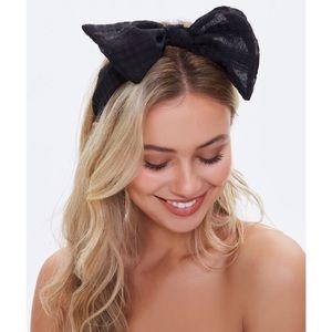 NWT Black Bow Top Headband